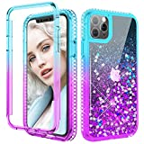 Maxdara iPhone 11 Pro Glitter Case Full Body Liquid Cover with Built-in Screen Protector Sparkly Diamond Shockproof Protective Case for iPhone 11 Pro 5.8 inches (Teal Purple)
