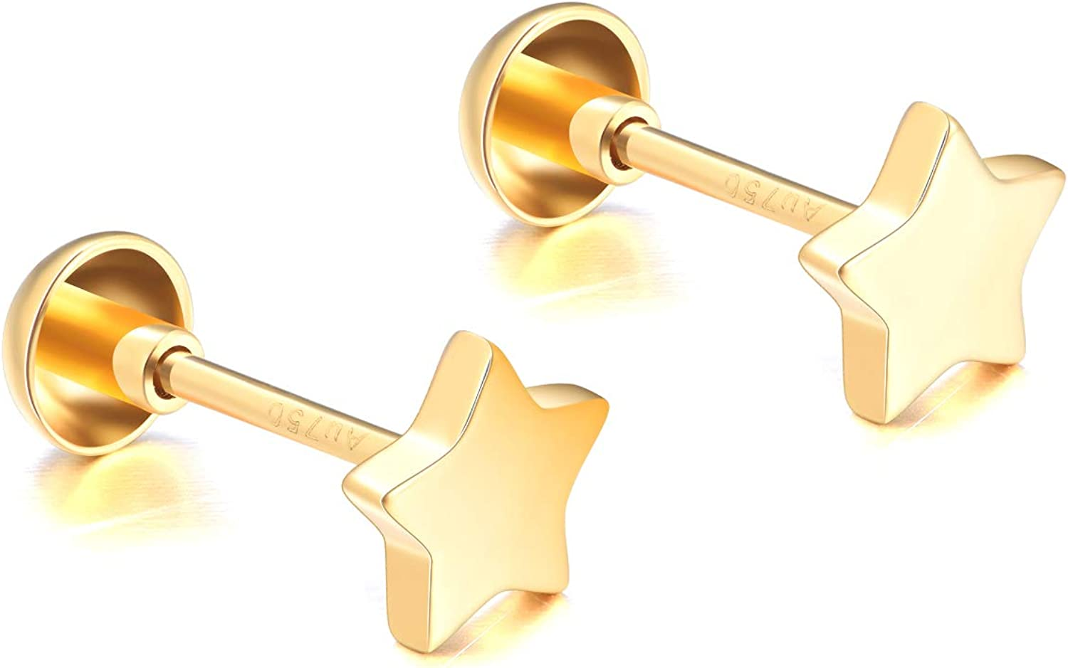 Solid 18k Gold Star Earrings shopping Screw Back Wom Studs for All items in the store Real