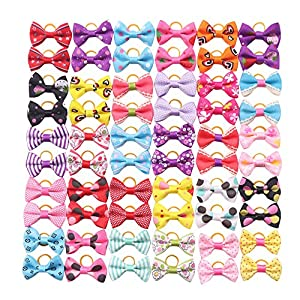 YAKA 60PCS (30 Paris) Cute Puppy Dog Small Bowknot Hair Bows with Rubber Bands Handmade Hair Accessories Bow Pet Grooming Products (60 Pcs,Cute Patterns) (Rubber Bands Style 2)