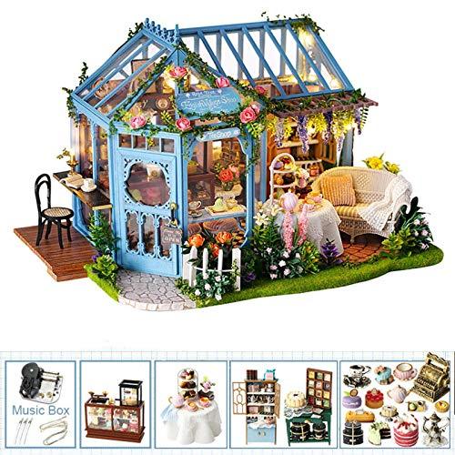 N-B Miniatur-Puppenhaus für Kinder, Puppenhaus für Jugendliche, Möbel, Spielzeug mit Musik-LED-Leuchten