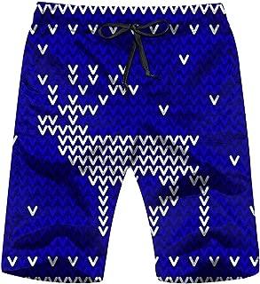Winter Blue White Knitted Holidays Men's Swim Trunks Beach Short Board Shorts
