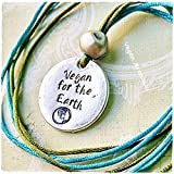 Collar Vegan For the Earth Cuero Vegano regalo para vegano accesorios veganos que regalar a un vegano amante animales bisuteria vegana regalo vegano