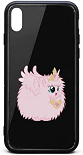 Tempered Glass Phone Case for iPhone Xs MAX Cute Pink Princess Fluffle Puff Unicorns Slim Shock-Absorption Phone Case