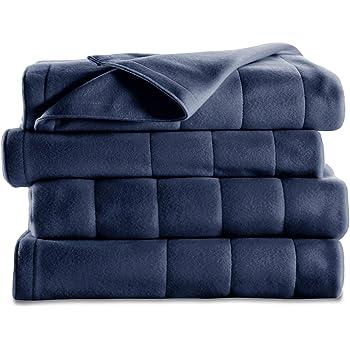 Sunbeam Heated Blanket | 10 Heat Settings, Quilted Fleece, Newport Blue, Full - BSF9GFS-R595-13A00