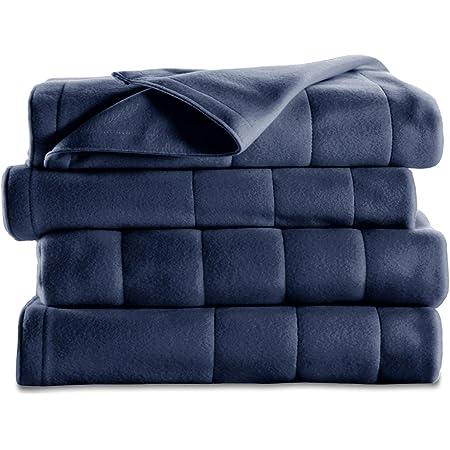 Sunbeam Heated Blanket   5 Heat Settings, Quilted Fleece, Newport Blue, Twin - BSF9GTS-R595-13A00