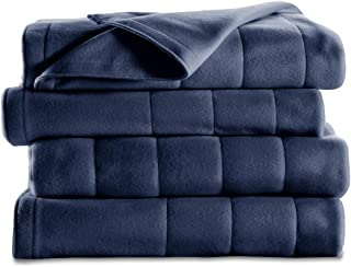 Sunbeam Heated Blanket | 10 Heat Settings, Quilted Fleece, Newport Blue, Twin –..