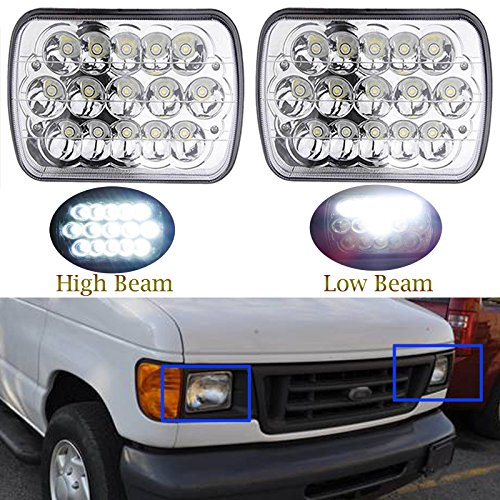 7x6 Inch for Ford E-150 E-250 E-350 LED Headlights Sealed Beam Square Headlamps High Low Double Beam H6014 H6052 H6054 6054 45W 1Pair - 2 Yr Guarantee
