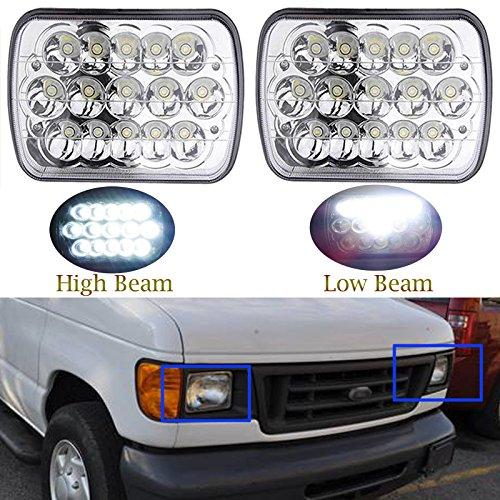 7x6 Inch for Ford E-150 E-250 E-350 LED Headlights Sealed Beam Square Headlamps...