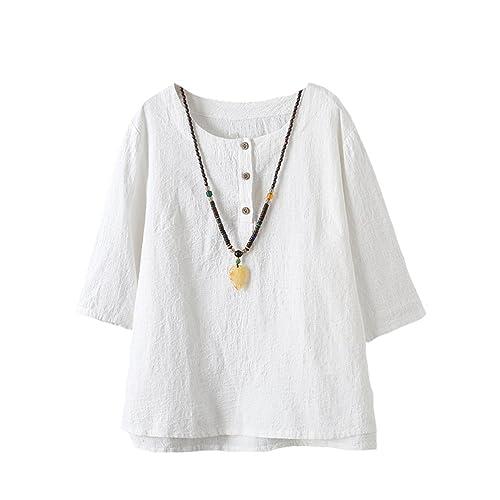 a63720b05828e Minibee Women s 3 4 Sleeve Cotton Linen Jacquard Blouses Top T-Shirt