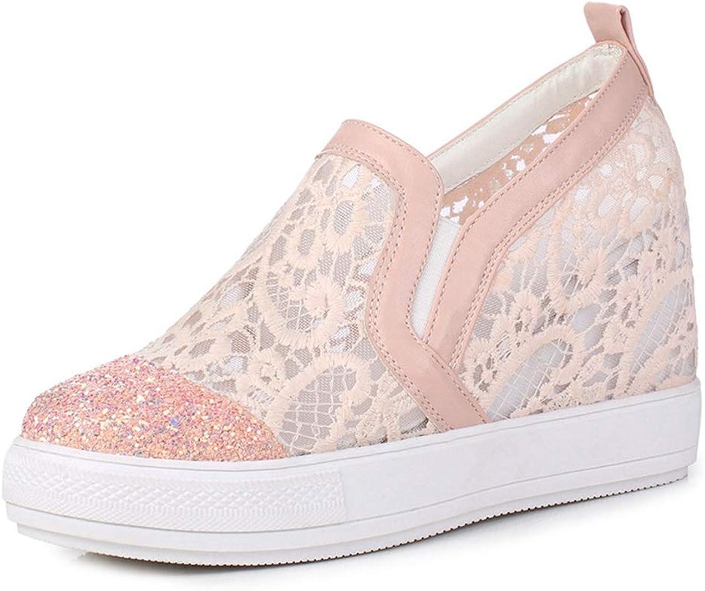 CYBLING Women's Slip On Hidden Heel Wedge Sneakers Casual Platform Fashion Lace Walking shoes