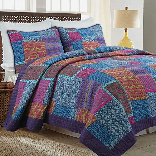 Cozy Line Home Fashions Wild Berry Purple Blue Orange Fuchsia Print Pattern Patchwork 100% Cotton Quilt Bedding Set, Reversible Coverlet, Bedspread Set for Women(Purple/Blue, Queen - 3 Piece)