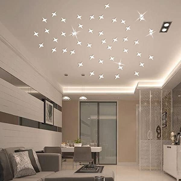 3D Wall Stickers TPTPT 30 Pcs 3D Waterproof DIY Star Wall Sticker Art Home Decor Wall Decoration Great For Bedroom Nursery Playroom Bathroom Silver