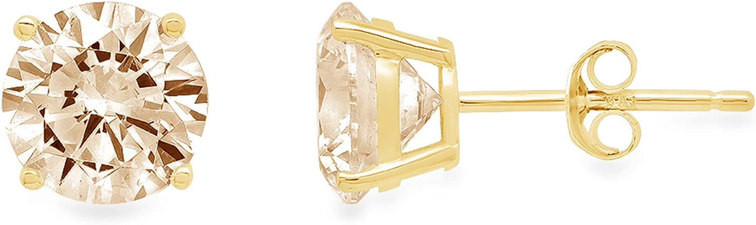 Clara Pucci 4.0 ct Brilliant Round Cut Solitaire VVS1 Flawless Natural Brown Morganite Gemstone Pair of Stud Earrings Solid 18K Yellow Gold Push Back