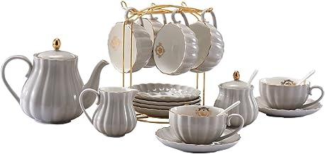 Lily White juego blanco para 4 Juego de t/é y caf/é de porcelana LIERAS con cucharillas de t/é y platillo de 8 onzas para 4 tazas