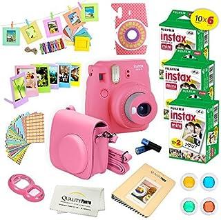 Fujifilm Instax Mini 9 Instant Camera FLAMINGO PINK w/Fujifilm Instax Mini 9 Instant Films (60 Pack) + A14 Pc Deluxe Bundl...