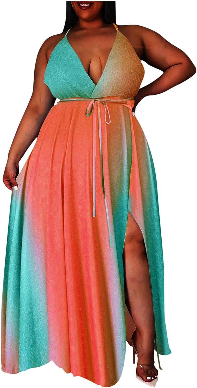 iQKA Women Plus Size Maxi Long Dress Tie Dye Print Sexy Deep V-Neck Sling Dresses Backless Halter Sundress