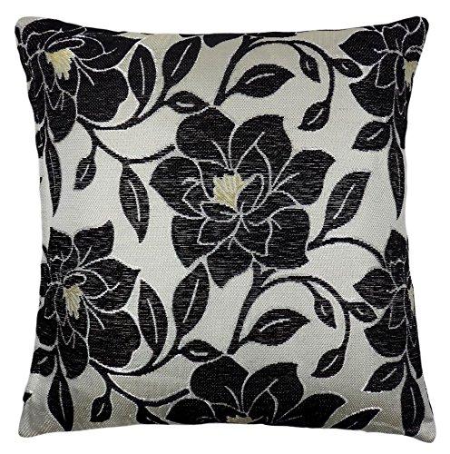 rempli chenille de luxe floral Fleur épais noir beige coussin crème 18 \