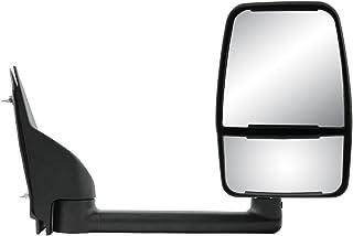 Fit System Passenger Side Towing Mirror for Chevrolet Express Van/GMC Savana Full Size Van, Textured Black w/PTM Cover, Dual Lens, Foldaway, Manual