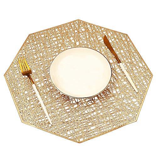 MANGATA Set de Table, PVC Set de Table Antidérapant Lavable Chaleur Résiste Set de Table (Or-Octogone, 2 Pièces)