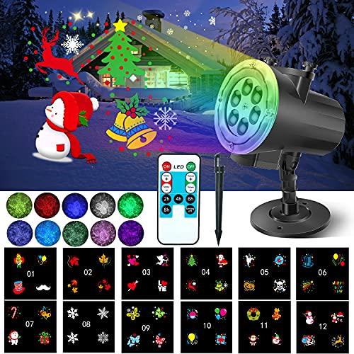 Halloween Weihnachten LED Projektorlampe, 12 Folien Projektor Lichter Wasserwellen-Welleneffekt, sehr helle Wasserdichte Außenbeleuchtung Weihnachten Licht Projektor mit Fernbedienung zum Party Urlaub