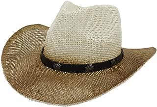 XinLin Du New Western Cowboy Hat National Wind Straw Sun Hat Men Women Outdoor Seaside Rivet Sun Visor