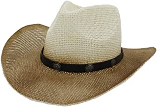 2019 Women Womens Painted Straw Cowboy Hat Men Sun Hat for Women Outdoor Beach Hat Sunscreen Belt Decorative Sun Hat Travel Outdoor Vacation Panama (Color : 2, Size : 56-58CM)