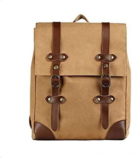 Soft Canvas with Leather Trim Fashion Vintage Backpack Large-Capacity Casual Fashion Travel Bag (Color : Brown, Size : S)