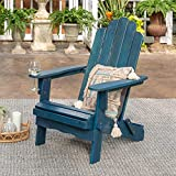 Walker Edison Furniture Company AZWACKDBU Outdoor Patio Wood Adirondack Foldable Chair All Weather Backyard Conversation Garden Poolside Balcony, Set of 1, Blue