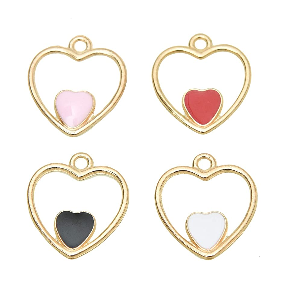 Monrocco Pack of 40 Double-Heart Hollow Heart in Heart Charms Colorful Cute Enamel Charms for Jewelry Making