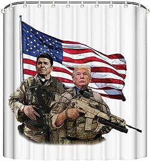 Tangqian Presidential Soldiers Ronald Reagan & Donald Trump USA Flag Bathroom Shower Curtain with 7-12 Hooks, Bath Curtain Durable Waterproof Fabric Bathroom Curtain