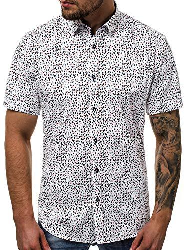 OZONEE Herren Hemd Freizeithemd Shirt Langarm Tailored Fit Flanellhemd Langarmhemd Langärmliges Slim Fit Freizeit Business Männer Jungen Trachtenhemd V/K107 XL