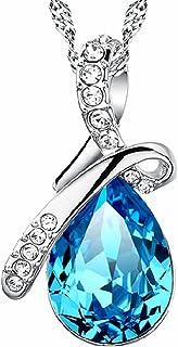 Besflily biżuteria eleganckie niebieskie krople wody sześcienna cyrkonia wisiorek naszyjnik z łańcuszkiem 45 cm (18 cali) ...