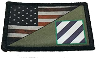 Full Color 3rd Infantry Division/USA Flag Morale Patch 2x3