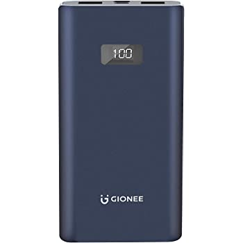 Gionee 10000mAh Li-Polymer Digital Display Power Bank with 2 Output Ports(Fast Charging, 12W) PB10K2S (Metallic Blue)