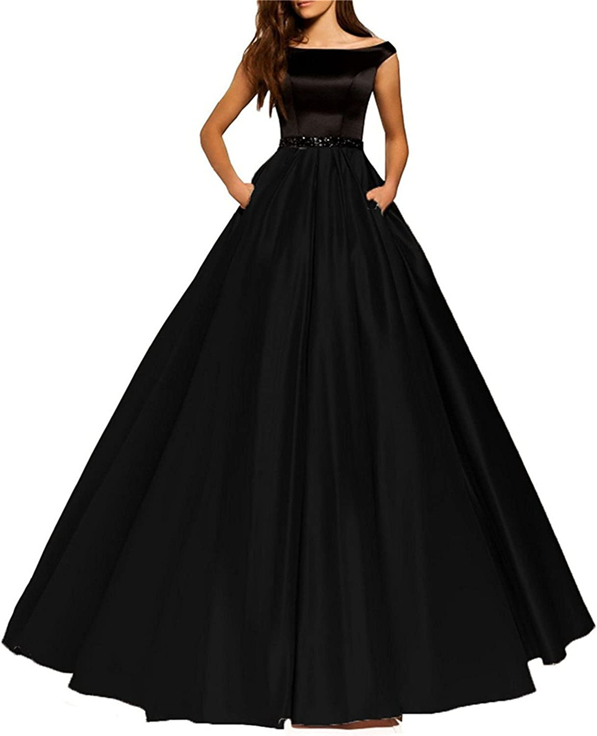 Homdor Off The Shoulder Prom Dresses with Pockets ALine Long Evening Gowns 2018