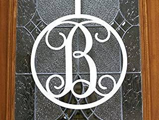 Fancy Script Metal Initial Door or Wall Sign - Optional Door Hanger - Monogram