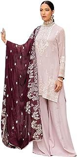 فستان بمرآة وردية هندية مطرزة ثقيلة من جورجيت مستقيم بالازو البدلة الإسلامية العرقية باكستاني 6214
