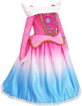 cc7d9ec27b2e0 OBEEII Fille Déguisement d Aurore pour Enfant Robe Princesse Aurora La  Belle au Bois Dormant
