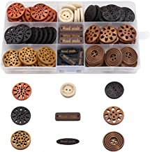 100 Pack Assorted Wood Wooden Buttons Black Brown Beige 4 Hole Mixed Sewing Art DIY Craft Supplies Kits with Box