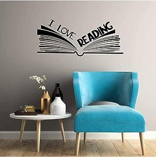 Pegatinas de pared Vinilo Decoración de interiores Tatuajes de pared Amo Biblioteca de lectura Rincón de lectura Libro abierto 42x18cm