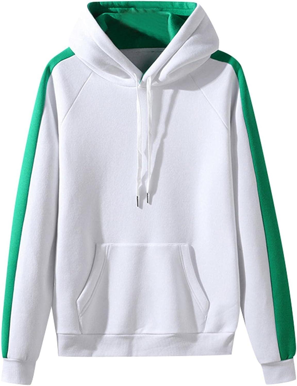 Hoodies for Mens Mens's Autumn Slim Casual Patchwork Hooded Long-sleeve Sweatshirt Top Blouses Mens Hoodies & Sweatshirt