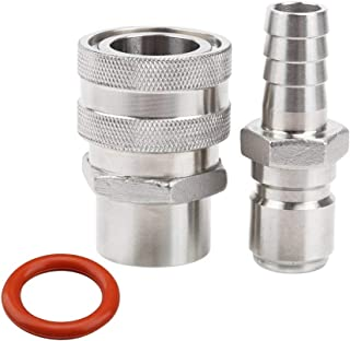 MRbrew Quick Disconnect 304 Stainless Steel Set 1/2'' FPT Female 1/2'' Male Barb (1/2'' FPT Female,1/2'' Male Barb)