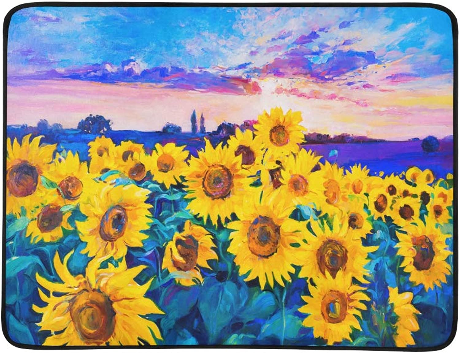 Yellow and Beautiful Sunflowers Field Pattern Portable and Foldable Blanket Mat 60x78 Inch Handy Mat for Camping Picnic Beach Indoor Outdoor Travel