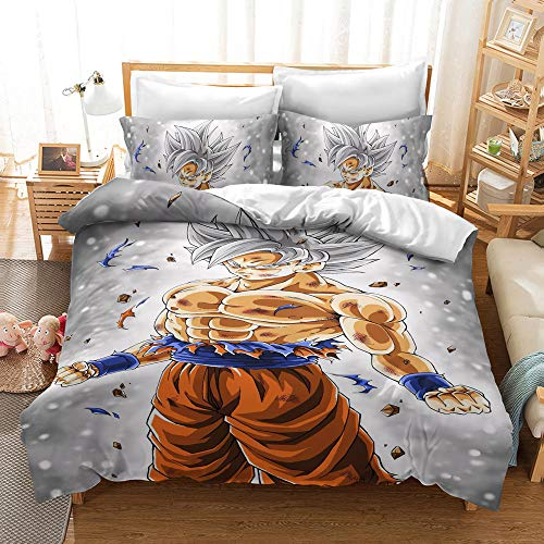 SSLLC Cartoon Dragon Ball Z Bedding Set - Children's Duvet Covers 2/3 Pieces in Microfibre 3D Design Super Saiyan Goku, Boys Girls Bedding Bedroom, Microfibre polyester, C04, Single 135x200cm