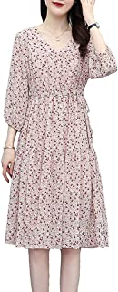 Women Summer Floral Print Dress V Neck 3/4 Sleeve Casual Loose Plus Size Swing Dresses غير رسمي (Color : Pink, Size : 3XL)