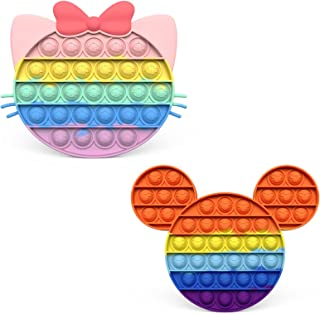 Sponsored Ad - Donia 2PCS Rainbow Cat Push Pop Fidget Toy,Cat Push Pop Toy,Autism ADHD Special Needs Stress Reliever Silic...