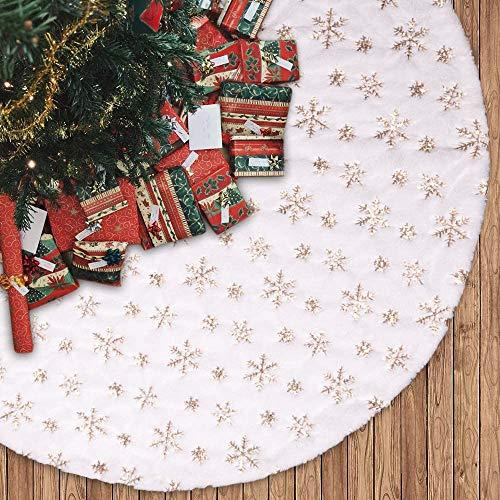 Baumrock, 121,9 cm, weißes Kunstfell, goldfarbene Schneeflocke, Baumrock, rustikale runde Basis, Matte, Weihnachtsdekoration für Weihnachten, Party, drinnen und draußen, passend für jede Baumgröße