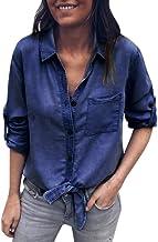 Longra☀☀☀☀ 2018 Las Mujeres de la Manera del Dril de algodón sólido abofetearon la Manga Larga de la Camisa Bolsillo de la Manga del Blusa