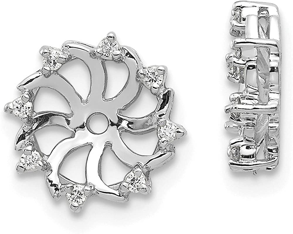 Solid 14k White Gold Diamond Earring Jacket - 12mm x 10mm (.064 cttw.)