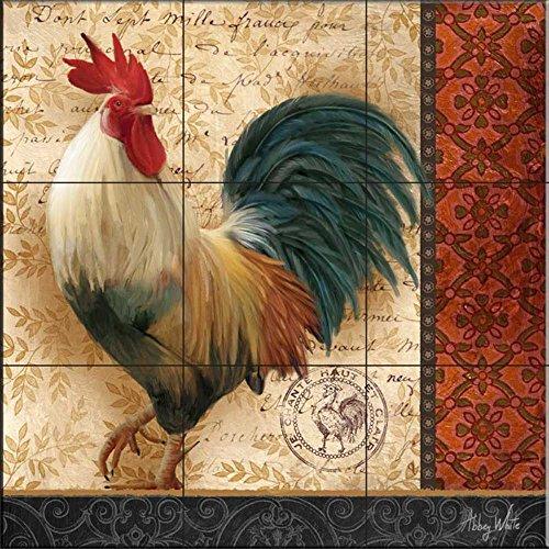 Ceramic Tile Mural - Un Gallo III- Francese, Abby White - splashback Cucina / doccia Bagno